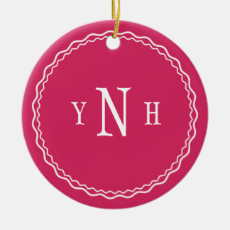 Personalizable with three-letter Monogram Christmas Ornament
