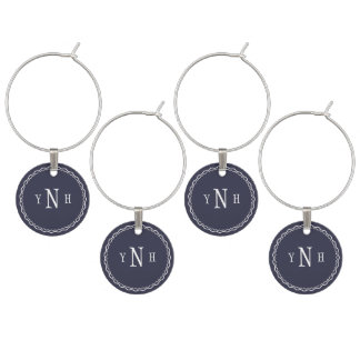 Personalizable with three-letter Monogram Wine Charm