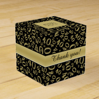 Personalize: 40th Birthday Party Gold/Black Favour Box