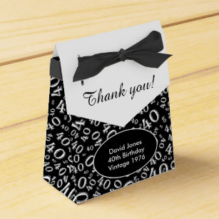 Personalize 40th Birthday Theme Black White Favour Box