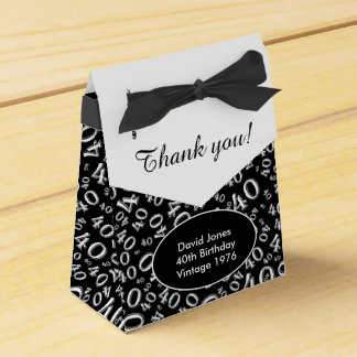 Personalize: 40th Birthday Theme Black/White Favour Boxes