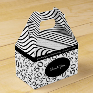 Personalize:  50th Birthday Black and White Theme Favour Box