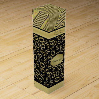 Personalize: 50th Birthday Gold/Black Party Theme Wine Gift Box