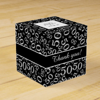 Personalize: 50th Birthday Party Black/White Favour Box