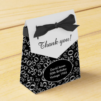 Personalize: 50th Birthday Theme Black/White Favour Box