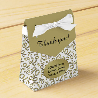 Personalize: 70th Birthday Gold/white Favour Boxes