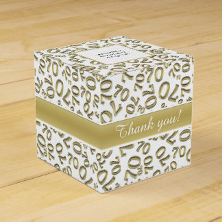 Personalize: 70th Birthday Party Gold/White Favour Box