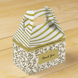 Personalize:  70th Birthday White and Gold Theme Favour Box