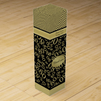 Personalize: 80th Birthday Gold/Black Party Theme Wine Gift Box