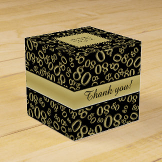 Personalize: 80th Birthday Party Gold/Black Favour Box