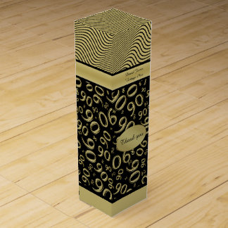 Personalize: 90th Birthday Gold/Black Party Theme Wine Gift Box
