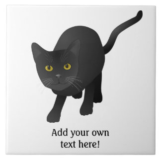 Personalize a cute Black Cat Large Square Tile