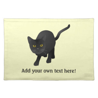 Personalize a cute Black Cat Placemat