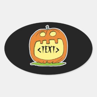 Personalize a Jack-O-Lantern, <TEXT> Oval Sticker
