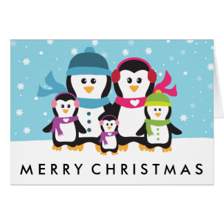 Personalize A Penguin Family Christmas Holiday Card