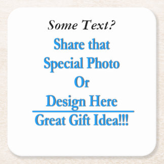 (Personalize) Add a personal touch. Black Text Square Paper Coaster