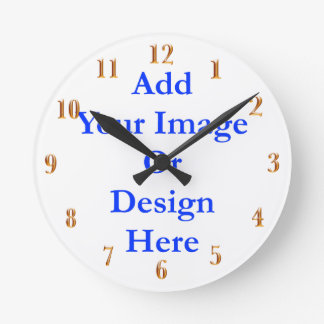 (Personalize) Add a personal touch. Gold Numbers Round Clock