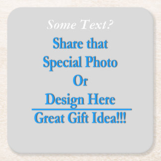 (Personalize) Add a personal touch. White Text Square Paper Coaster