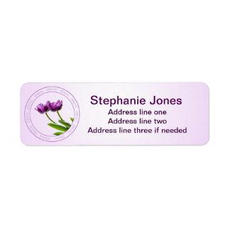 Personalize: Address Template Purple Tulips Photo Return Address Label