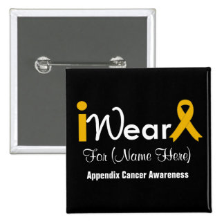 Personalize Amber Ribbon Appendix Cancer 15 Cm Square Badge