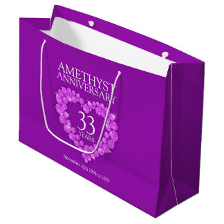 Personalize amethyst 33rd anniversary photo purple large gift bag