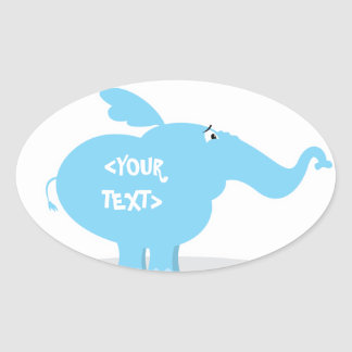 Personalize an Elephant, <YOUR TEXT> Oval Sticker