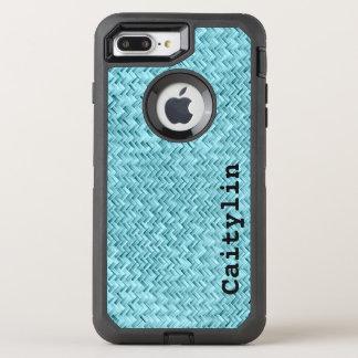 Personalize:  Aqua Faux Basket Weave Pattern OtterBox Defender iPhone 7 Plus Case
