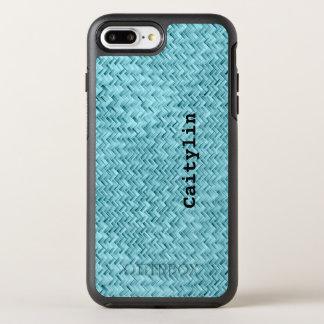 Personalize:  Aqua Faux Basket Weave Pattern OtterBox Symmetry iPhone 7 Plus Case