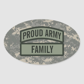 Personalize Army Family Camo Oval Sticker
