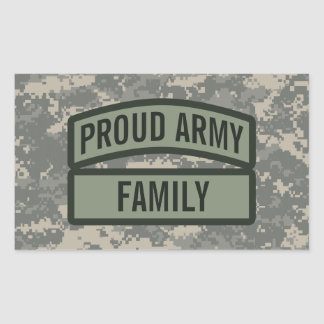 Personalize Army Family Camo Rectangular Sticker