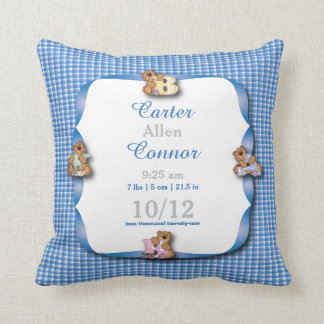 Personalize - Baby Blue and White Plaid with Bears Throw Pillow