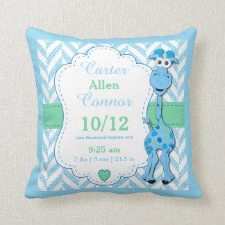 Personalize - Baby Blue Giraffe Throw Pillow