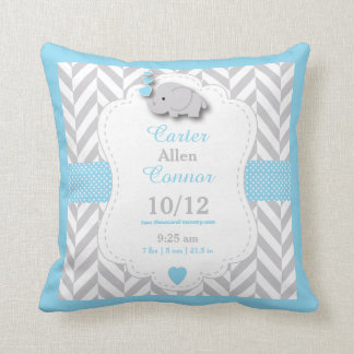 Personalize - Baby Blue,Gray and White Elephant Cushion