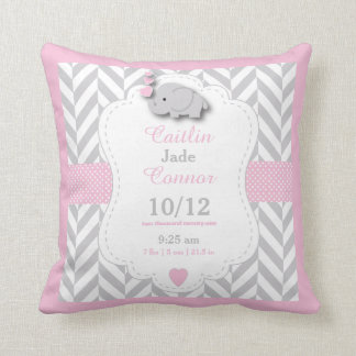 Personalize - Baby Pink,Gray and White Elephant Cushion