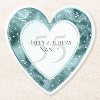 Personalize Birthday Faux Aqua Lame' Texture Heart Paper Coaster