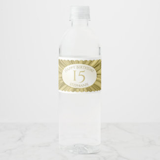 Personalize  Birthday  Faux Gold Satin Texture Water Bottle Label