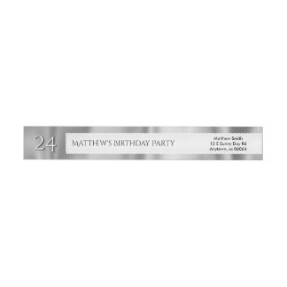 Personalize Birthday Faux Gray Satin Fabric Wrap Around Label
