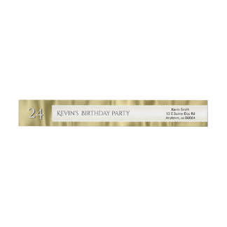 Personalize Birthday Gold Faux Satin Luxury Fabric Wrap Around Label