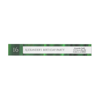 Personalize Birthday Green Faux Satin Fabric Wrap Around Label