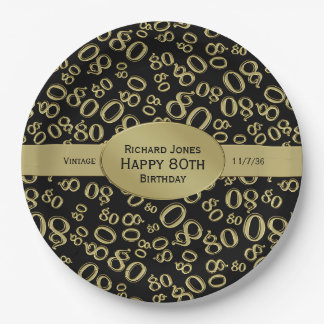 Personalize:  Black and Gold 80th Birthday Theme 9 Inch Paper Plate