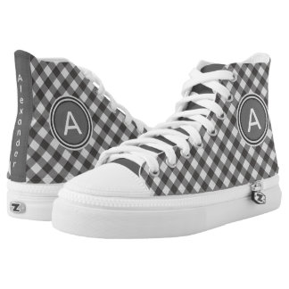Personalize:  Black and White Gingham High Tops Printed Shoes