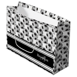 Personalize - Black and White Soccer Balls Large Gift Bag