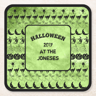 Personalize:  Black/Lime Green Halloween Font Art Square Paper Coaster