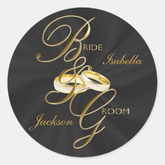 Personalize Black Satin & Gold Wedding Rings Round Sticker
