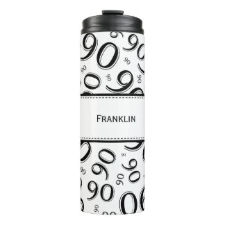 Personalize: Black/White Number 90 Random Pattern Thermal Tumbler