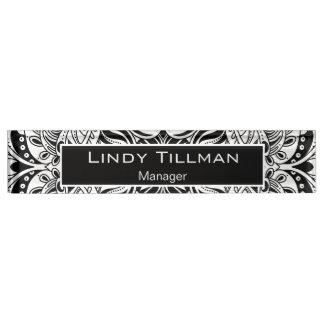 Personalize, Black & White Paisley Design Nameplate