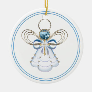 Personalize:  Blue Christmas Angel of Faith  Round Christmas Ornament