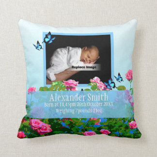 Personalize Blue Newborn Baby Boy Spring Rose Cushion