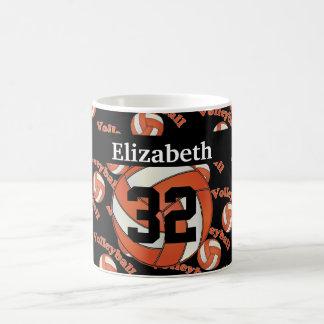 Personalize Bright Orange Volleyball Basic White Mug