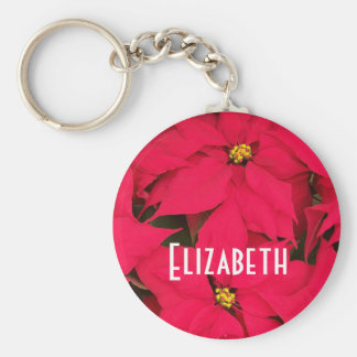 Personalize Brightly Colored Christmas Poinsettias Basic Round Button Key Ring